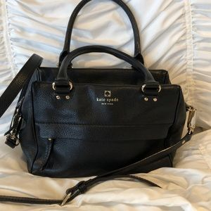 Kate Spade black leather crossbody satchel